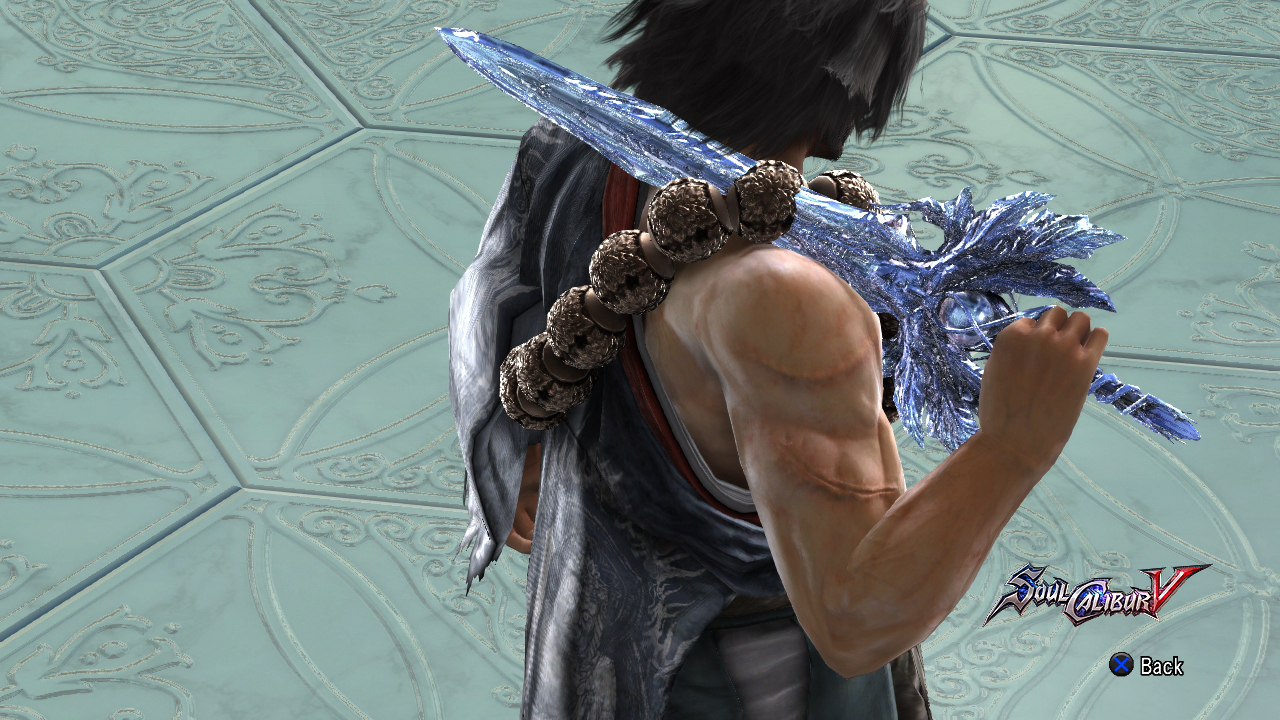 Mitsurugi's 9th is Patroklos' Soul Calibur, albeit with a different texture. This weapon comes with no sheath.