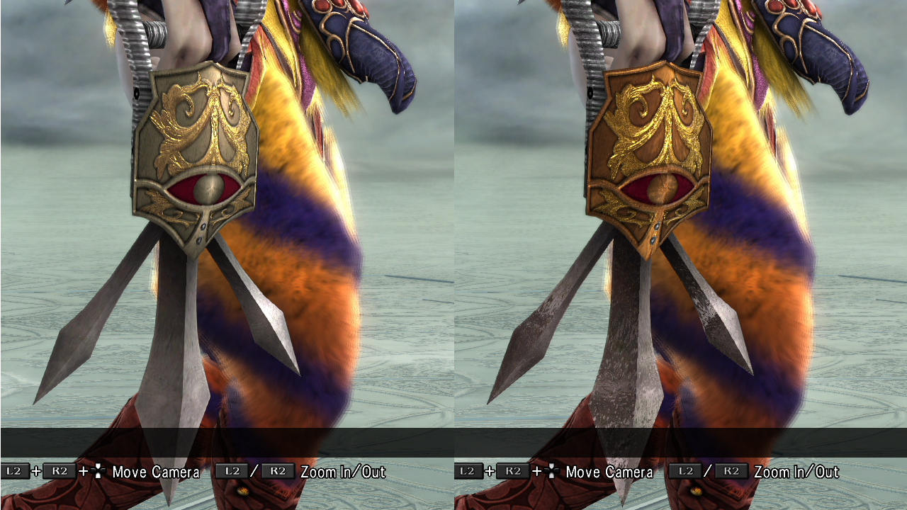 Voldo's 9th (right) is a shinier version of his 1st, with different blade texture.