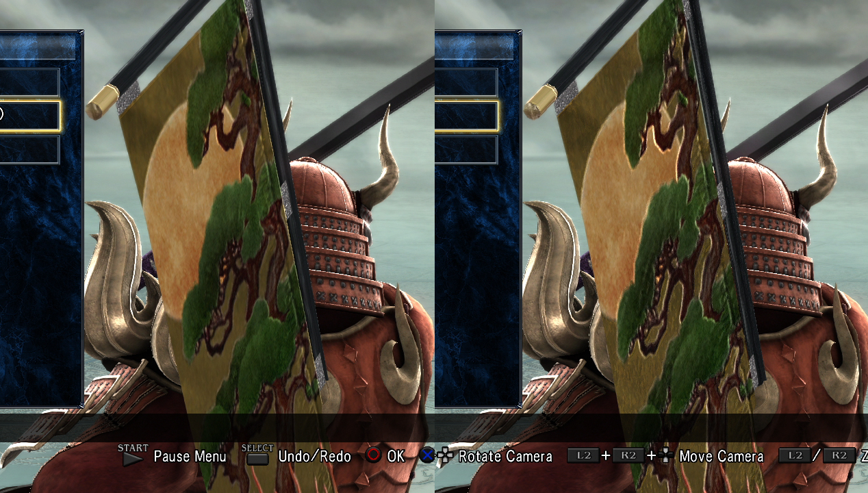 Yoshimitsu's 9th (right) is his 1st weapon with an embossed flag.