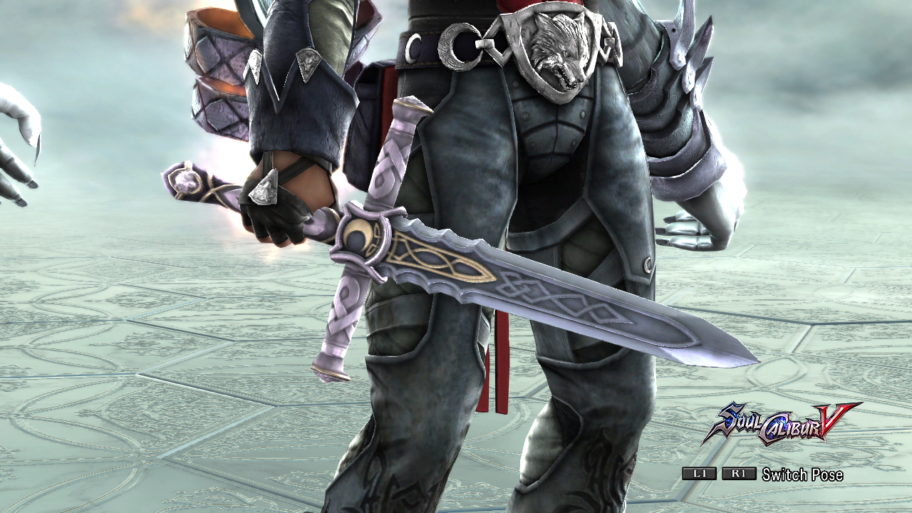Zwei's 9th sword, light blue blade, light purple hilt.