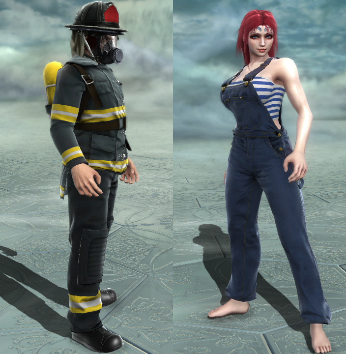 I like firefighters, but not in Soulcalibur. Overalls need to me more flexible than that.
