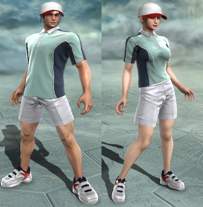 Male set have Mega man-sized Cap and Shoes. Female ones are normal, somehow.